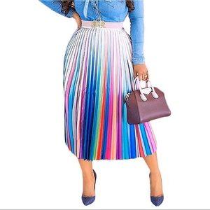 Ombré Rainbow Pleated Midi Skirt